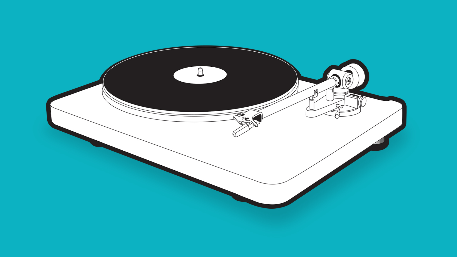 NAD C 558 turntable illustration with light blue background