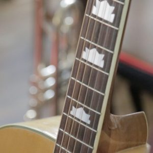 Close up of a guitar fretboard